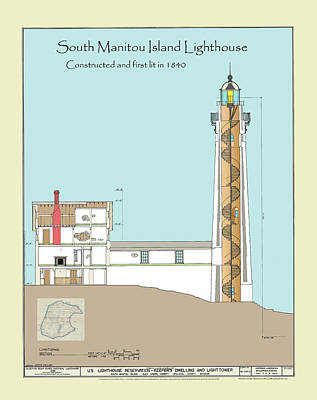 South Manitou Island Lighthouse Color Drawing Print by Jerry McElroy