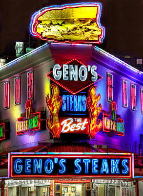 South Philly Skyline - Geno's Steaks-1 - Ninth And Passyunk In South Philadelphia Print by Michael Mazaika