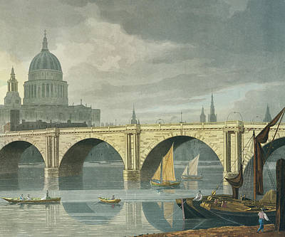 River Scenes Drawing - South West View Of St Pauls Cathedral And Blackfriars Bridge by George Fennel Robson
