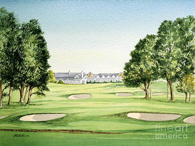 Amateur Painting - Southern Hills Golf Course 18th Hole by Bill Holkham