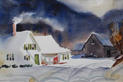 Farm And Barns Painting - Southern Vermont Back Road by Len Stomski