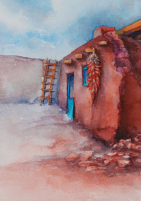 Ristra Painting - Southwest Adobe Ristra by Donna Pierce-Clark