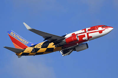 Airliners Photograph - Southwest Airlines Boeing 737-7h4 N214wn Maryland One Phoenix Sky Harbor December 23 2010 by Brian Lockett
