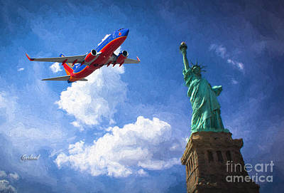 Airliners Mixed Media - Southwest Over The Statue Of Liberty by Garland Johnson