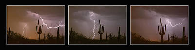 Southwest Saguaro Cactus Desert Storm Panorama Print by James BO Insogna