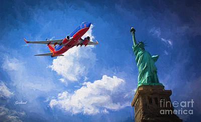 Airliners Mixed Media - Southwest Salutes The Statue Of Liberty by Garland Johnson