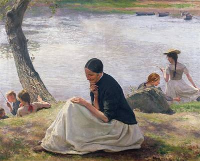 Contemplative Painting - Souvenir by Emile Friant