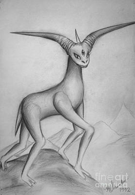 Cyclops Drawing - Space Alien - Goat 2 by Sofia Metal Queen