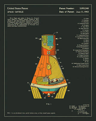 Space Capsule Patent 1963 Print by Jazzberry Blue
