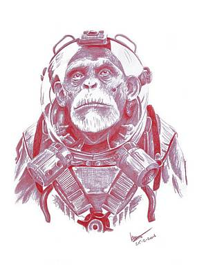 Chimpanzee Drawing - Space Chimp by Kenny Noorlander