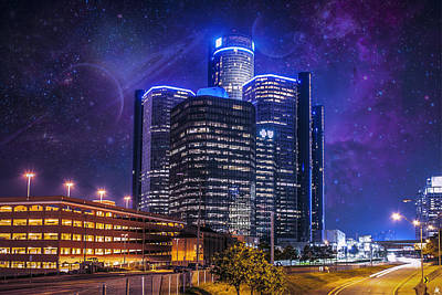 Space Detroit Print by Nicholas  Grunas