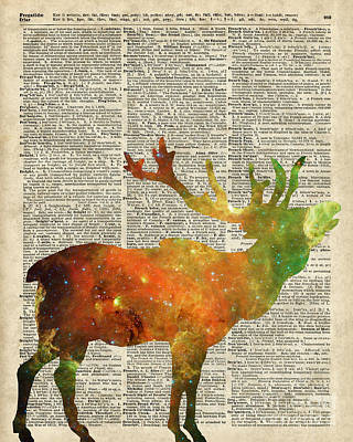 Christmas Mixed Media - Space Reindeer by Jacob Kuch