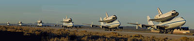 Space Shuttle Endeavour Departs Edwards Afb December 10 2008 Multiple Exposure Print by Brian Lockett