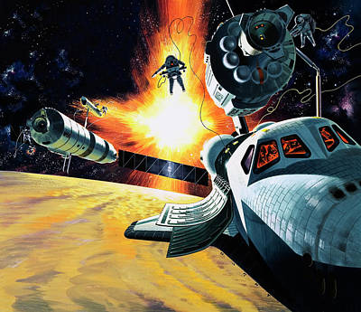 Outer Space Painting - Space Shuttle by Wilf Hardy