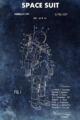 Astronauts Mixed Media - Space Suit Patent Illustration by Dan Sproul