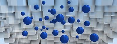 3d Digital Art - Space With Blue Balls by Alberto  RuiZ
