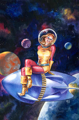 Retro Painting - Spacegirl by Ken Meyer jr