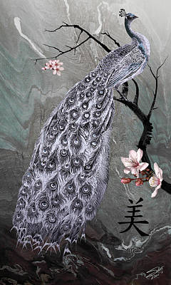Asian Beauty Painting - Spades Peacock by IM Spadecaller