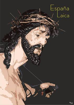 Religious Drawing - Spanish Christ by Joaquin Abella