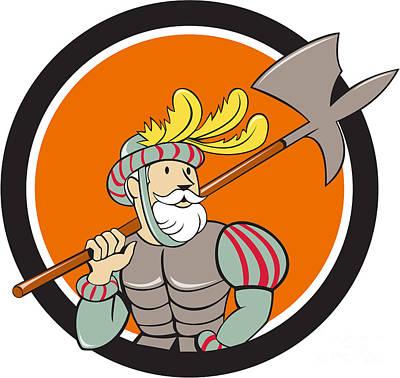 Spanish Conquistador Ax Sword Circle Cartoon Print by Aloysius Patrimonio