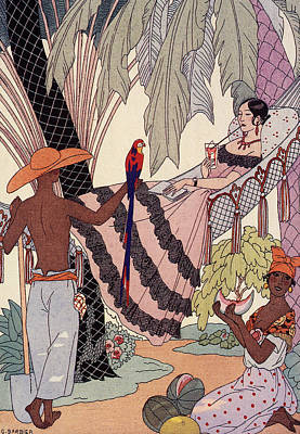 Cocktails Drawing - Spanish Lady In Hammock With Parrot by Georges Barbier