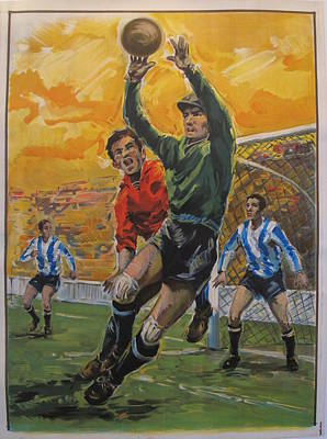 Spanish Soccer And Football Poster Of Goalkeeper Original by Unknown