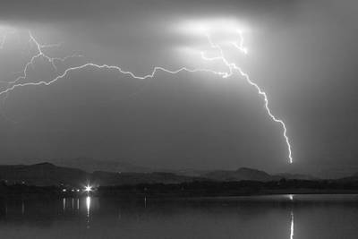 Lightning Images Photograph - Spark In The Night In Black And White by James BO  Insogna
