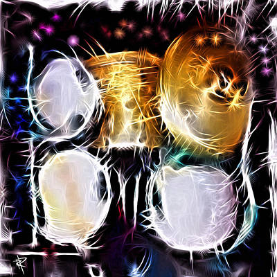 Bass Drum Mixed Media - Sparkle Drums by Russell Pierce