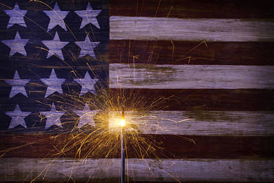 Sparkler With American Flag Print by Garry Gay