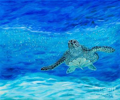 Sea Turtles Painting - Sparkling Sea by Danielle  Perry