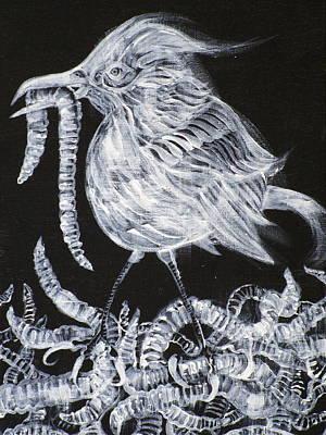 Sparrow And Worms Original by Fabrizio Cassetta