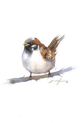 Sparrow Bird Watercolor Art Print by Nitin Singh