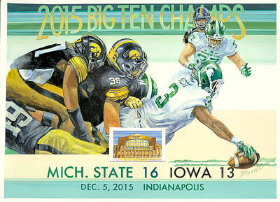 Michigan State Painting - Spartan Big Ten Champions by Robert Brent