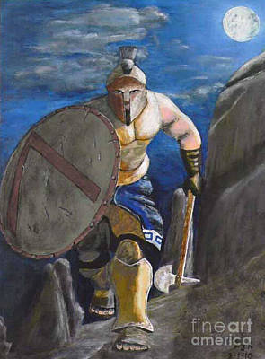 Acrylic On Canvas Painting - Spartan Warrior One Of The Three Hundred At Night by Eric Kempson