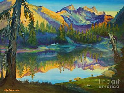 Backpacking Painting - Spectacle Lake On The Pct by Sky Evans