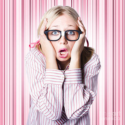 Overcoming Photograph - Speechless Nerd Covering Ears In Silent Shock by Jorgo Photography - Wall Art Gallery