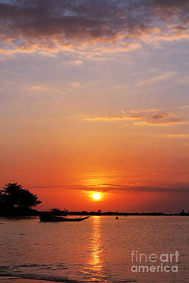 Speed Boat And Sunset Original by Atiketta Sangasaeng