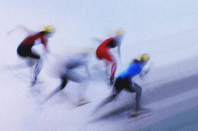 Speed Skating 1 Print by Zoran Milutinovic
