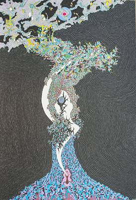Nature Abstract Drawing - Spell Tree by Bobby Hermesch
