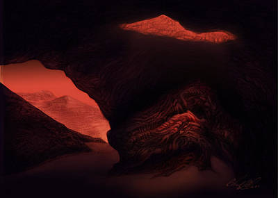 Space Ships Drawing - Speluncam Fossilium  by Chad Glass