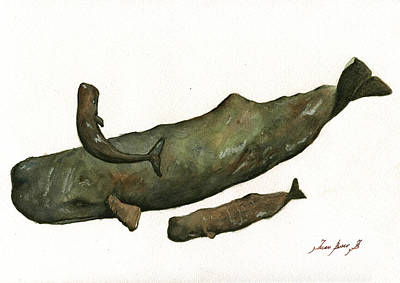 Whale Painting - Sperm Whales Family by Juan Bosco