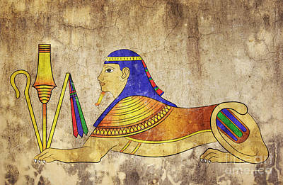 Egyptian Mixed Media - Sphinx by Michal Boubin