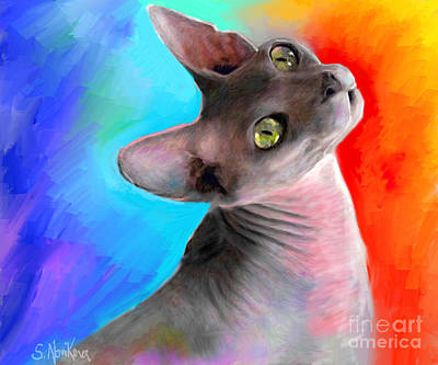 Russian Drawing - Sphynx Cat Painting by Svetlana Novikova