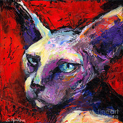 Impressionistic Dog Art Drawing - Sphynx Sphinx Cat Painting  by Svetlana Novikova