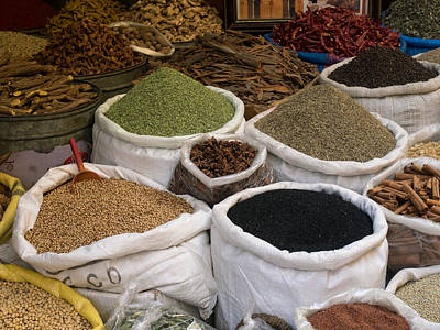 Spices And Lentils For Sale In Souk Print by Panoramic Images