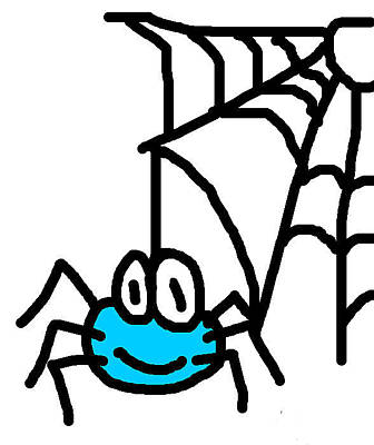Spider With Web Print by Jera Sky