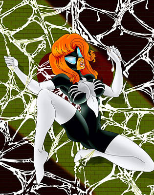 Spider Woman In The Web Print by Lynn Rider