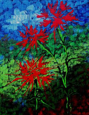 Flowers Painting - Spikey Red Flowers by Louise Adams