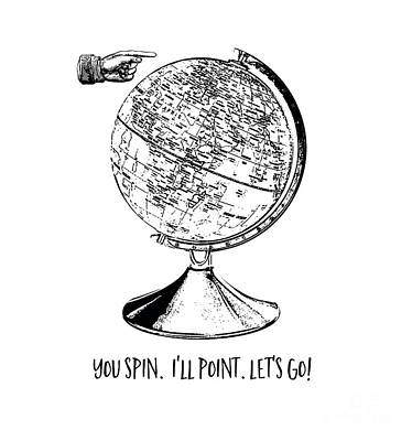 Spin The Globe Tee Print by Edward Fielding