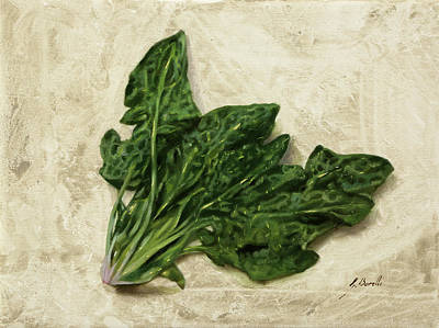 Food Painting - Spinaci by Guido Borelli